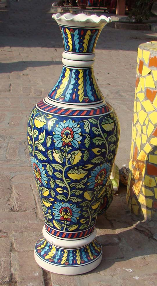 Big Hand Painted Ceramic Vase