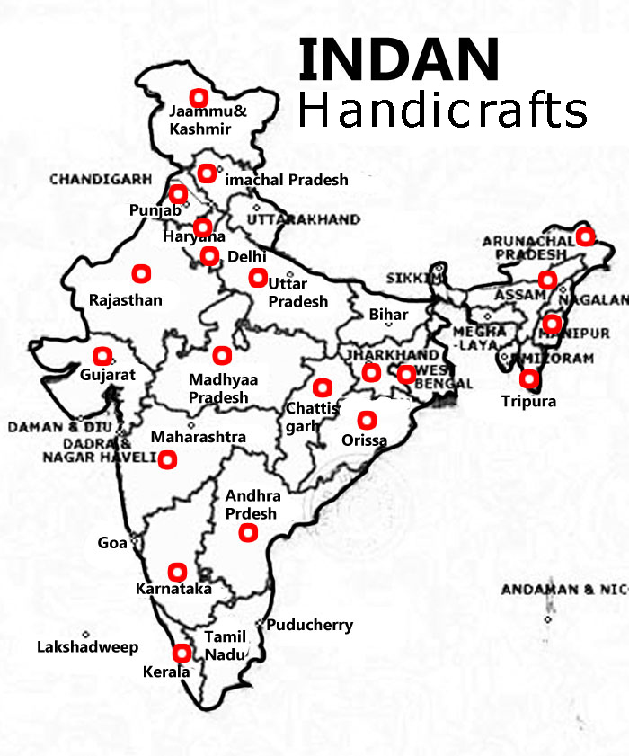 India the country known for is art and crafts, Indian Handicrafts, belong to which state and regions, the details about Indan states for Indian Handicrafts origine, manufacturers, artisans and exporters
