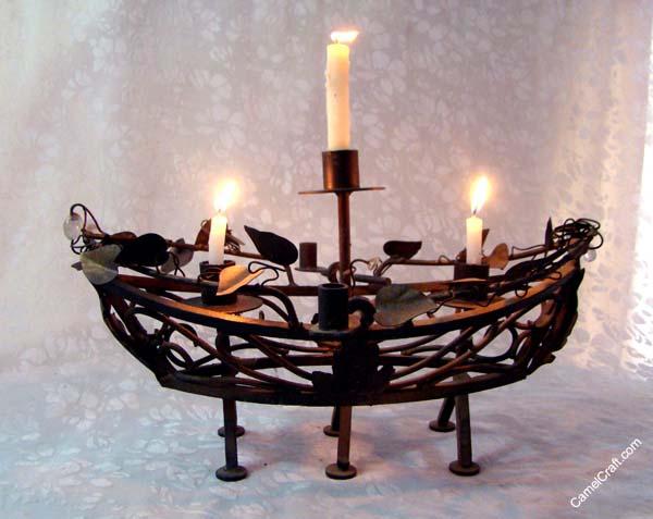 boat shape iron candle stand iron craft india